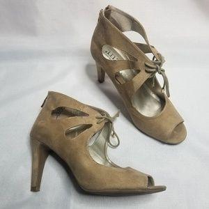 ANA Women's Faux Suede Beige Open Toe Heels 8.5